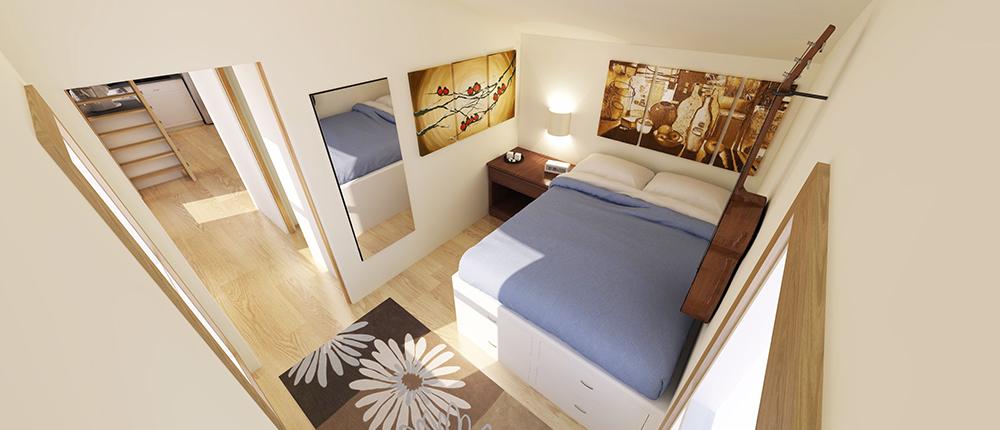 Tiny Home 12x32 Bedroom Rendering