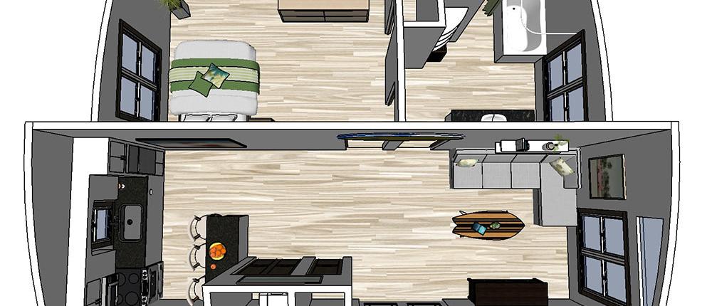 Tiny Home Double Wide 24x32 Single Bedroom