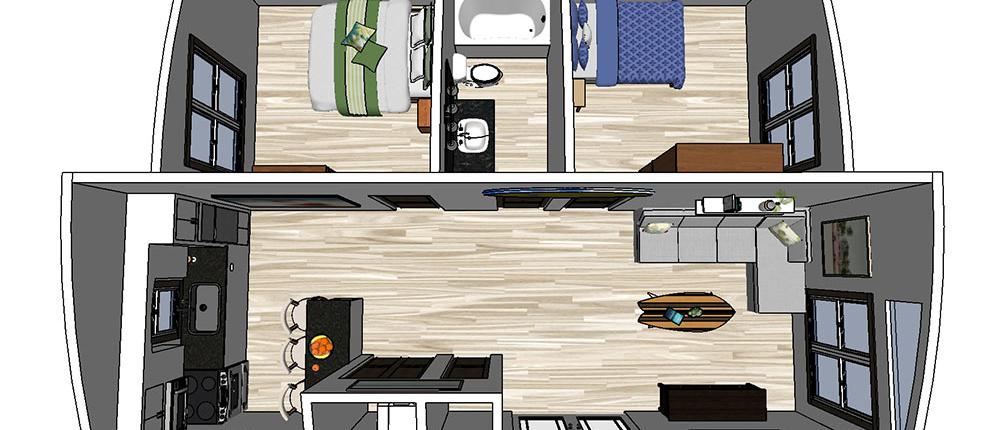 Tiny Home Double Wide 24x32 2-Bedroom